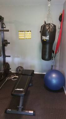 Bench, Punching Bag, Gloves, and Ball